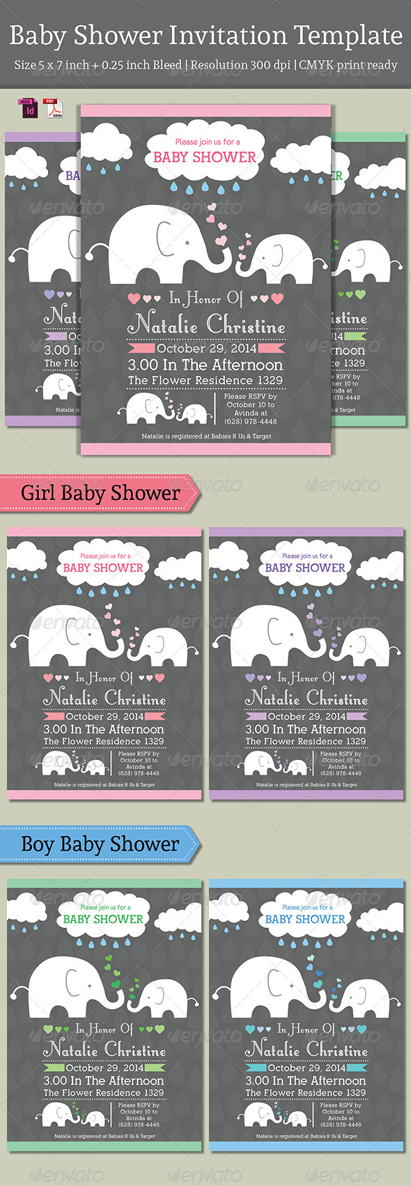 Baby Shower Template - Vol. 3 - Invitations Cards & Invites