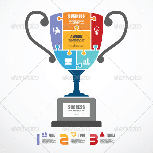 Infographic Template Trophy Jigsaw Banner