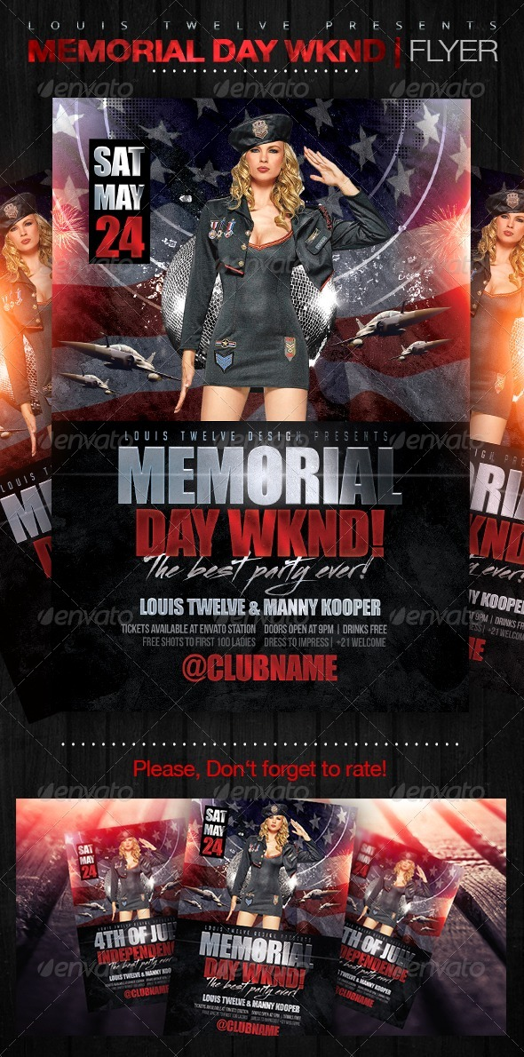 Memorial Day Wknd | Flyer Template - Clubs & Parties Events