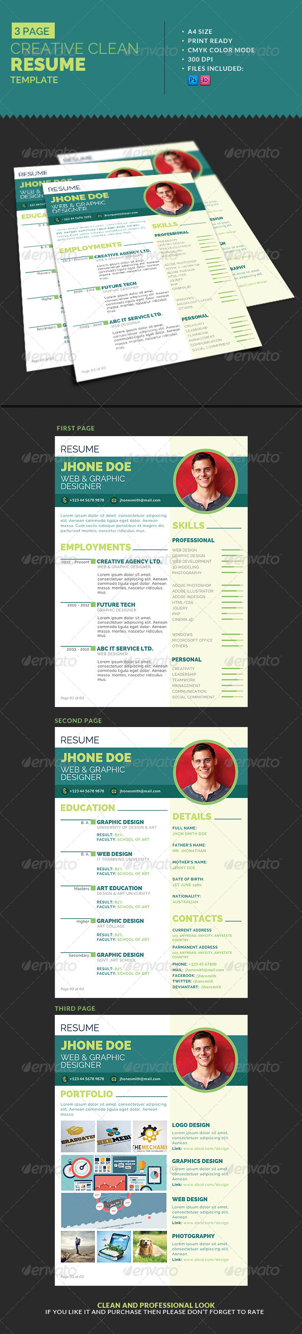 3-Page Creative Clean Resume Template - Resumes Stationery