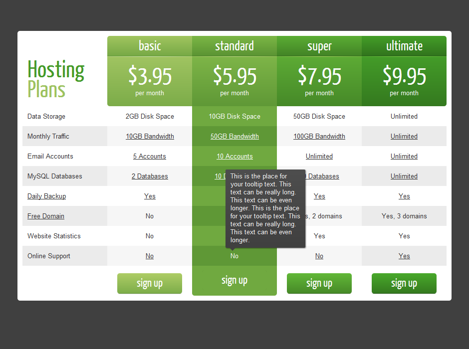 Css3 responsive wordpress compare pricing tables by for Table th responsive