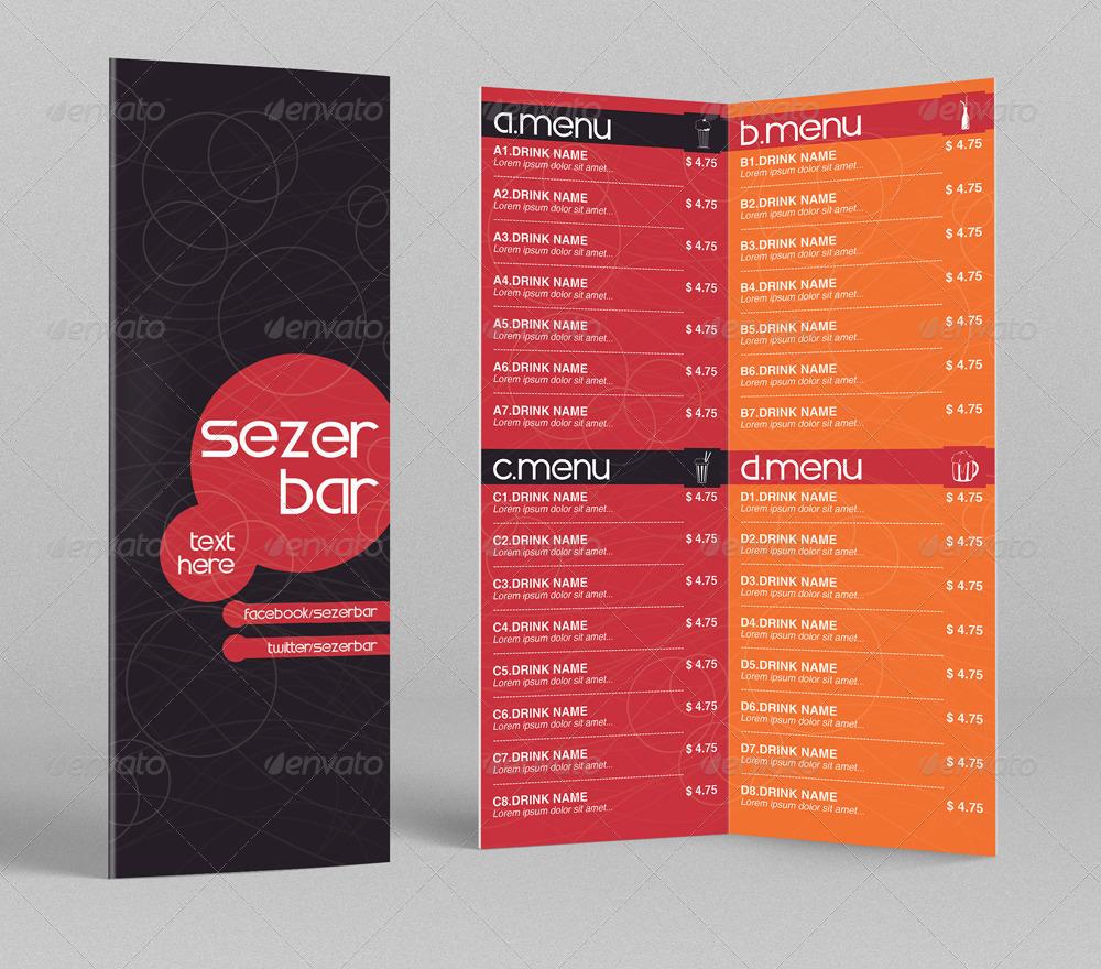 bi fold drink menu template 1 by