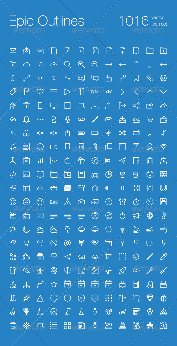 1016 Outlines Icon Set - Web Icons