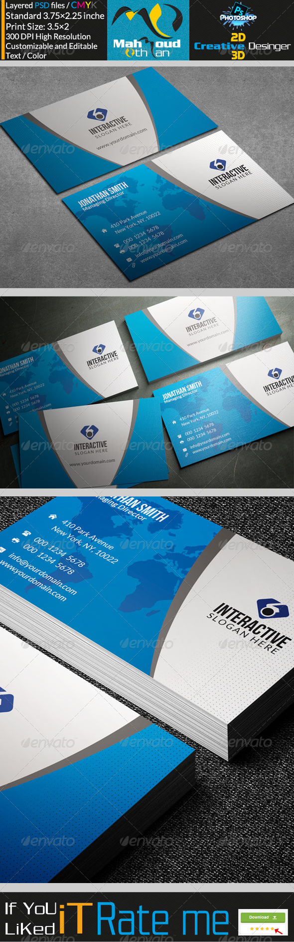 Modern Blue Business Card 29 - Corporate Business Cards