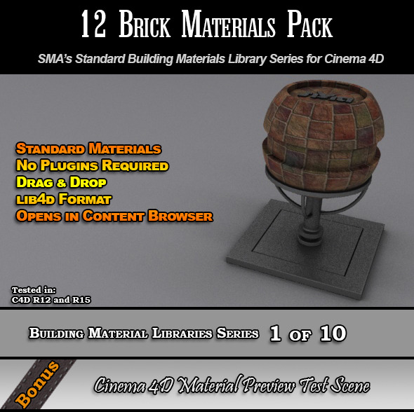 12 Standard Brick Materials Pack for Cinema 4D - 3DOcean Item for Sale