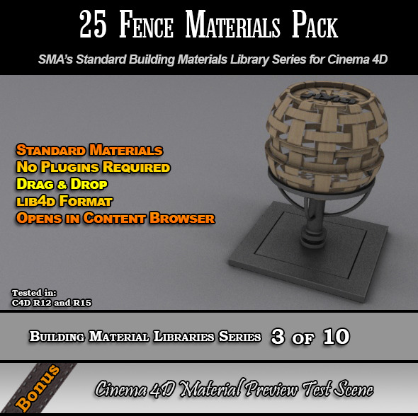 25 Standard Fences Materials Pack for Cinema 4D - 3DOcean Item for Sale