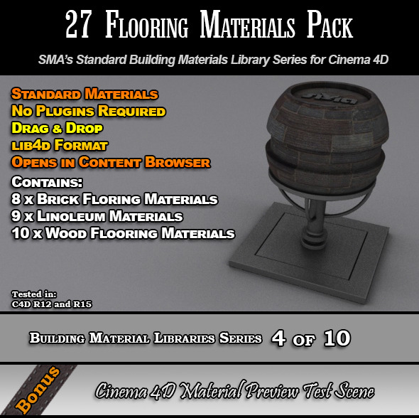 27 Standard Flooring Materials Pack for Cinema 4D - 3DOcean Item for Sale