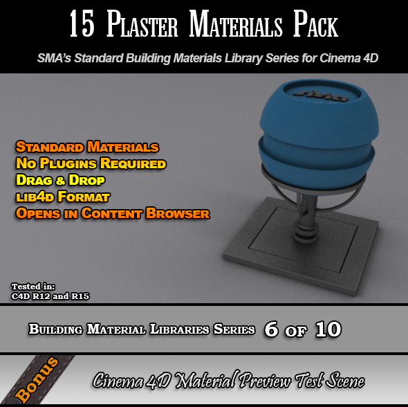 15 Standard Plaster Materials Pack for Cinema 4D - 3DOcean Item for Sale