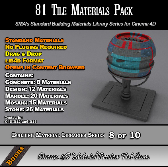 81 Standard Tiles Material Pack for Cinema 4D - 3DOcean Item for Sale