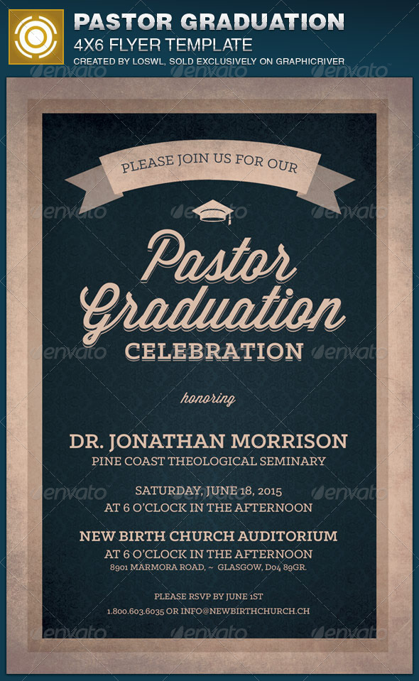 Pastor Graduation Celebration Church Flyer By Loswl | Graphicriver