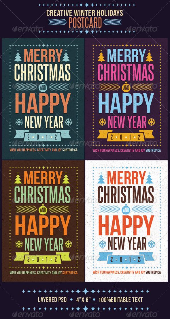 Creative Winter Holidays Postcard - Holiday Greeting Cards