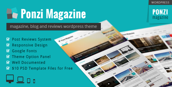 Ponzi | Responsive WordPress Theme Magazine Review - News / Editorial Blog / Magazine