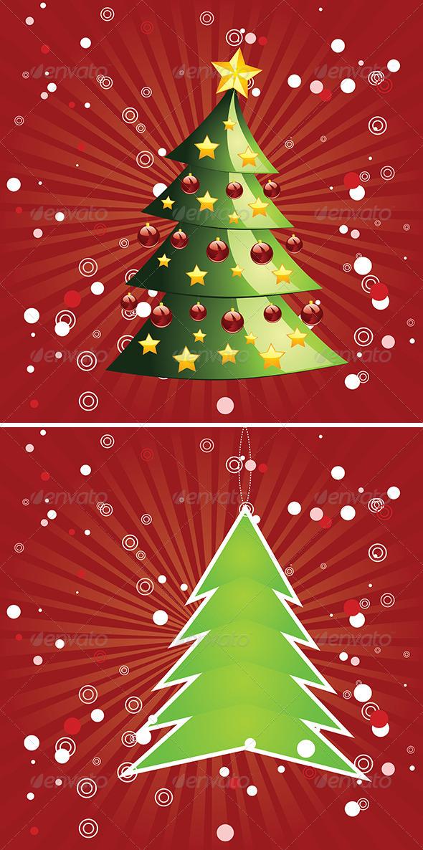 Christmas Tree on Red Background   - Christmas Seasons/Holidays