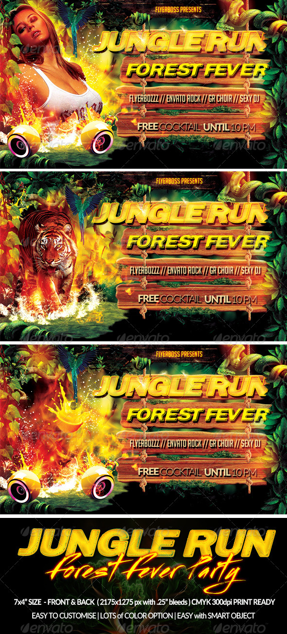 Jungle Run Flyer-Front & Back - Clubs & Parties Events