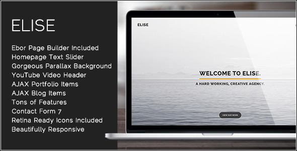 Elise - AJAX Powered One Page WordPress Theme - Portfolio Creative