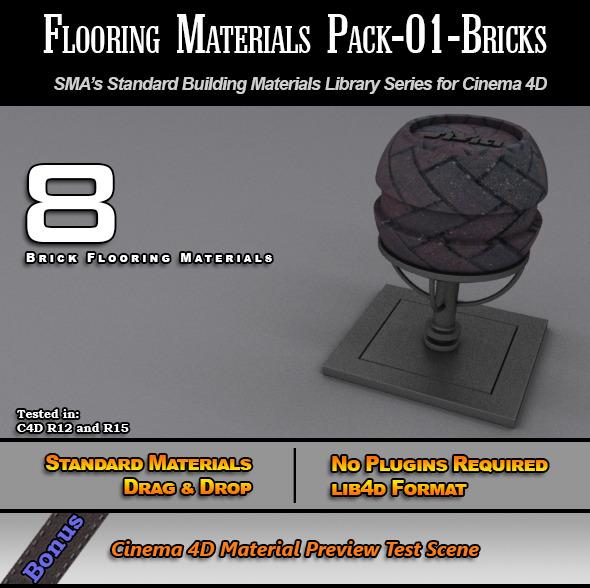 Flooring Materials Pack-01-Bricks - 3DOcean Item for Sale