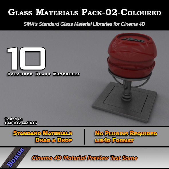 Glass Materials Pack-02-Coloured for Cinema 4D - 3DOcean Item for Sale