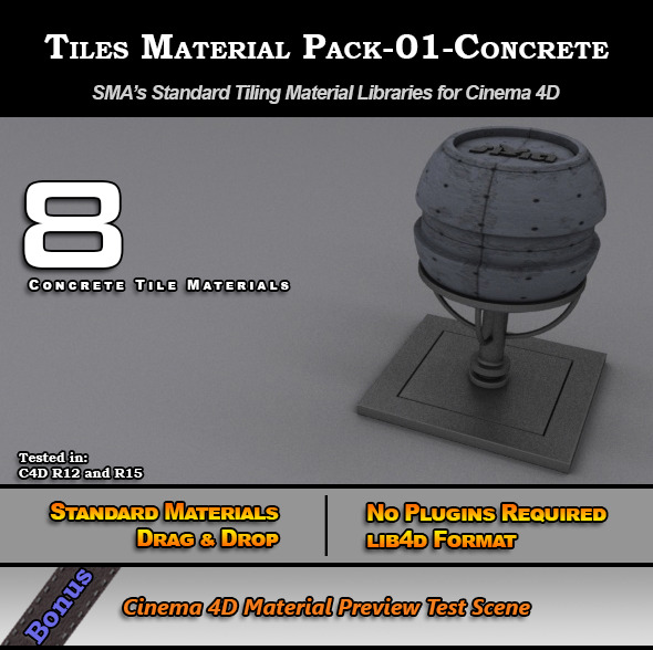 Standard Tiles Material Pack-01-Concrete for C4D - 3DOcean Item for Sale