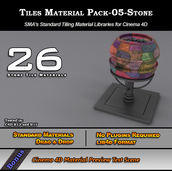 Standard Tiles Material Pack-05-Stone for C4D - 3DOcean Item for Sale