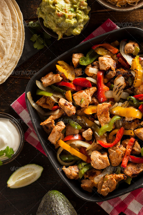 Homemade Chicken Fajitas with Vegetables - Stock Photo - Images