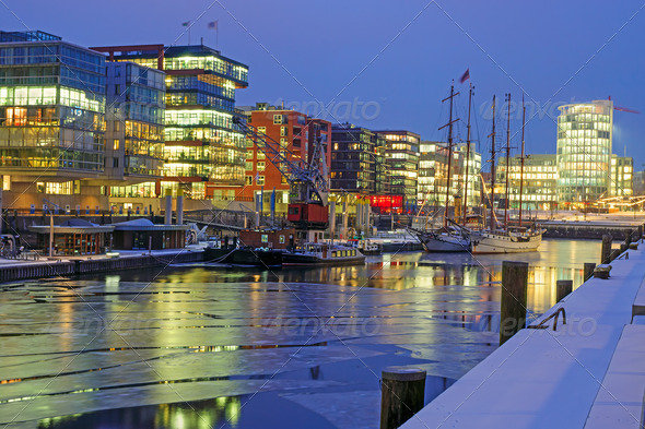 Cold night in Hamburg - Stock Photo - Images