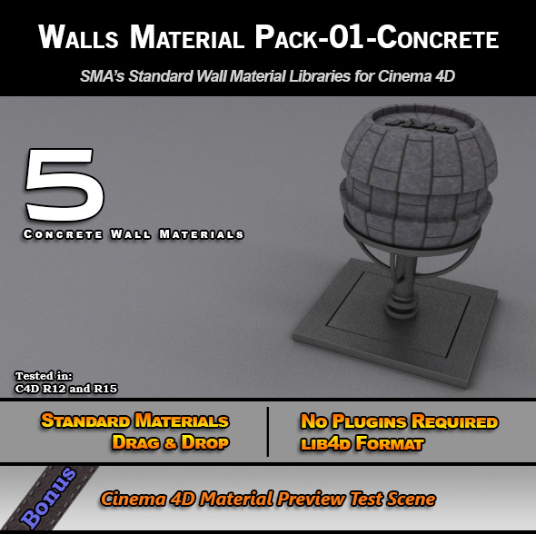 Standard Walls Material Pack-01-Concrete for C4D - 3DOcean Item for Sale