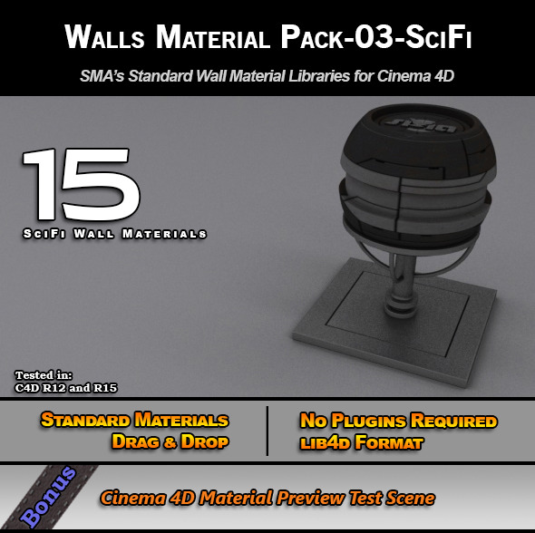 Standard Walls Material Pack-03-SciFi for C4D - 3DOcean Item for Sale