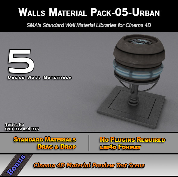 Standard Walls Material Pack-05-Urban for C4D - 3DOcean Item for Sale