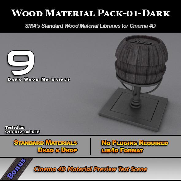 Standard Wood Material Pack-01-Dark for Cinema 4D - 3DOcean Item for Sale