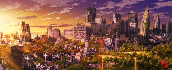 Sunset tokyo ruins cityscapes 17679