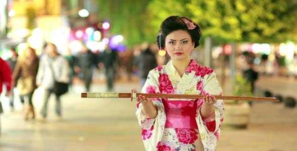 Play preview video  sc 1 st  VideoHive & Japanese Geisha Samurai With Sword At Night by eldelik | VideoHive