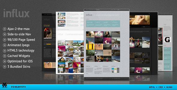influx ajax html5 business portfolio template by pixelentity themeforest. Black Bedroom Furniture Sets. Home Design Ideas