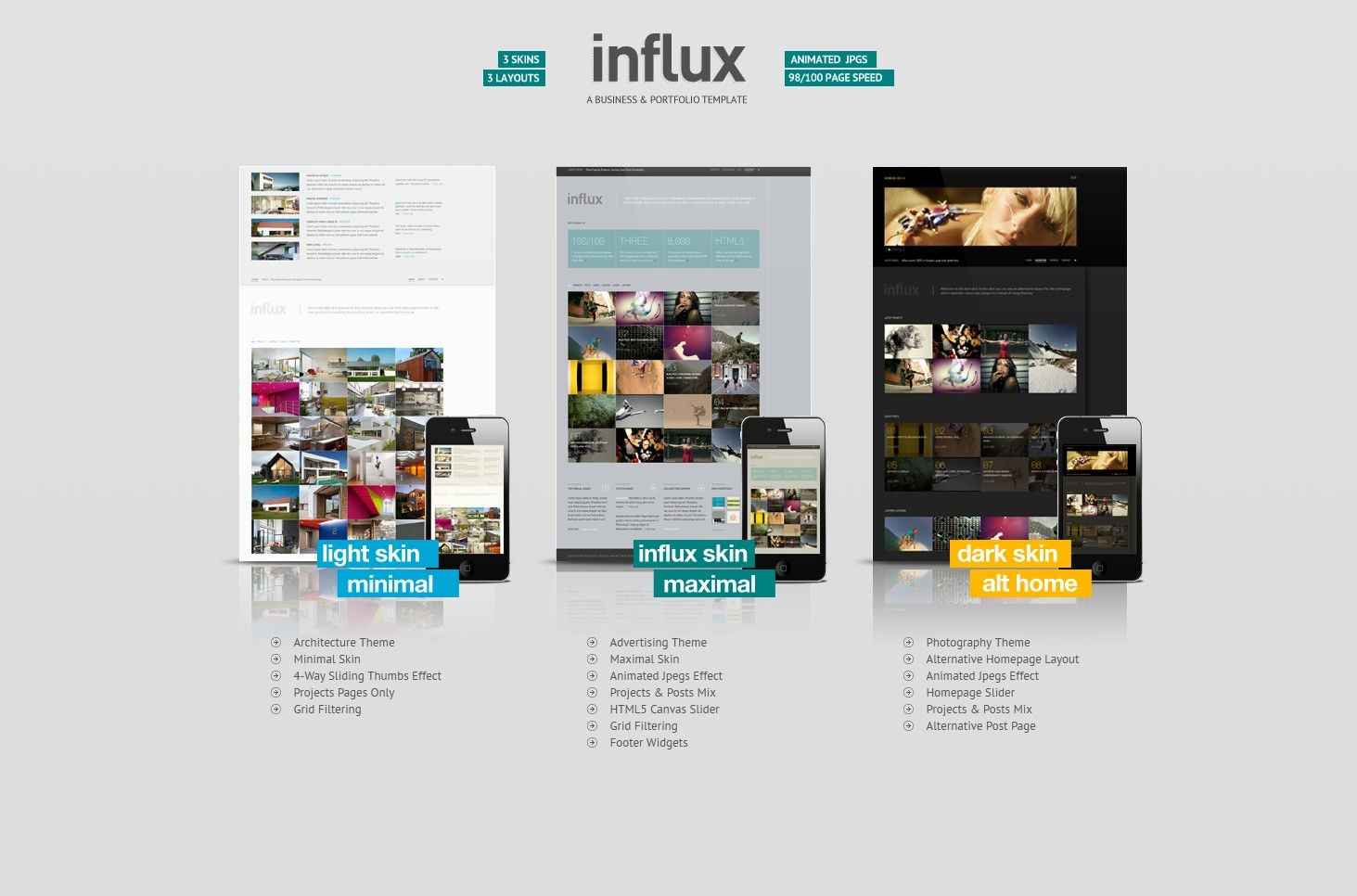 Influx ajax html5 business portfolio template by pixelentity business portfolio template creative site templates 01previewg 02influxskinselectionpageg pronofoot35fo Images
