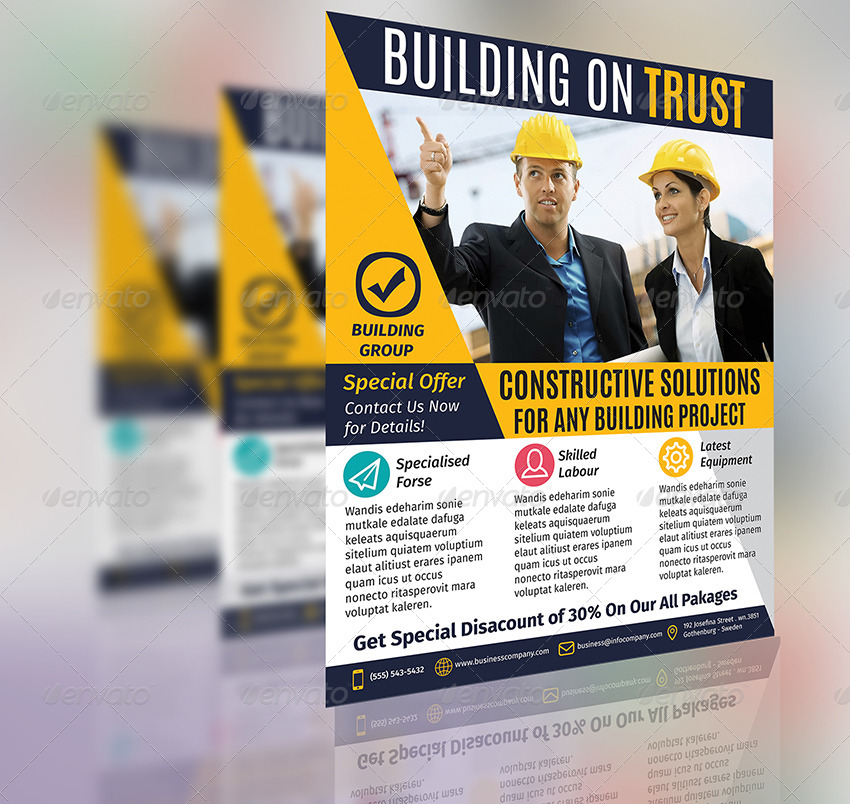 Construction Business Flyer Template Vol1 By Aboanasdzn Graphicriver