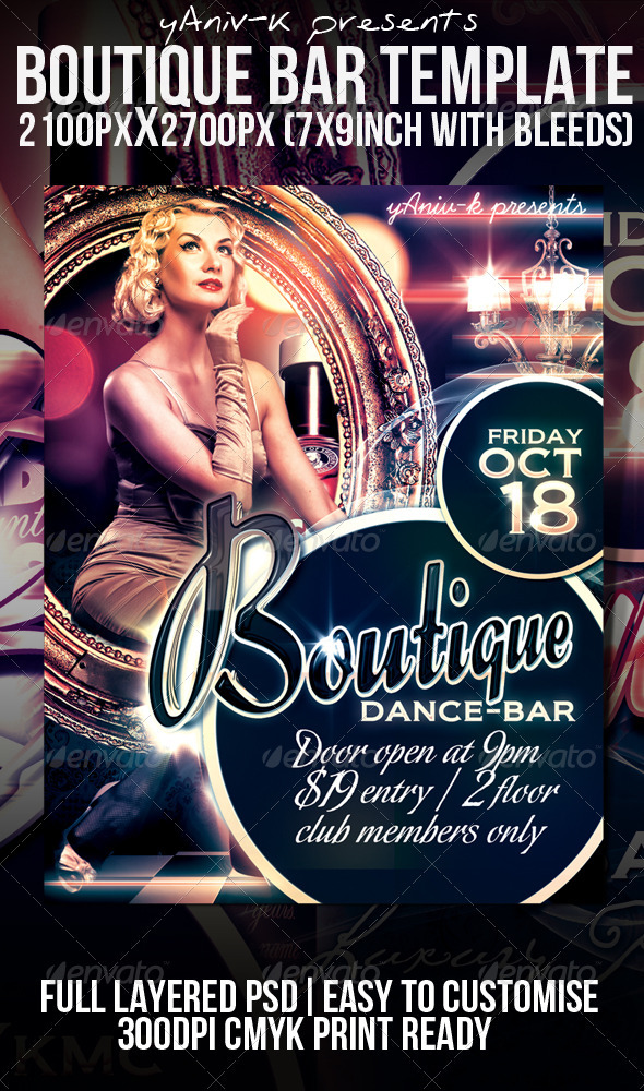 Boutique Bar Flyer Template By YanivK  Graphicriver