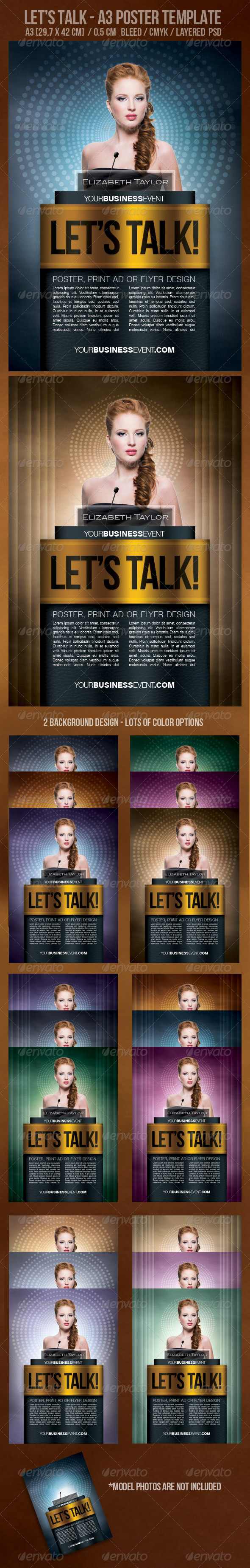 Let's Talk! A3 Poster Design Template. - Clubs & Parties Events