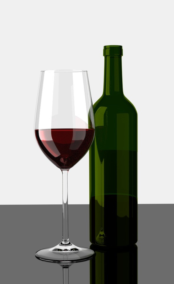 Glas of Red Wine with Bottle - 3DOcean Item for Sale
