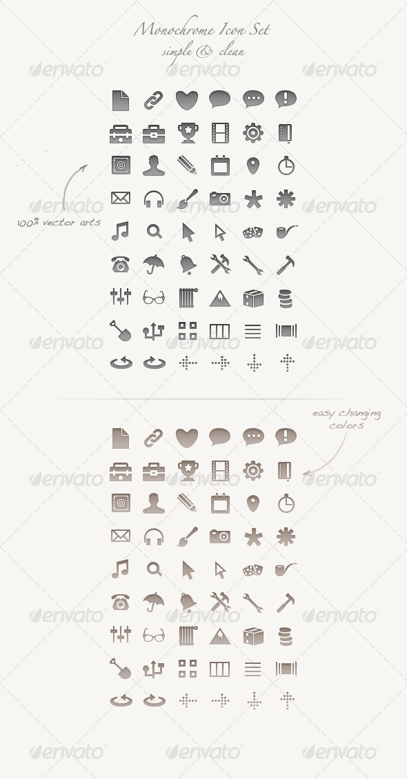 Monochrome Icon Set - 100% vector arts - PSD / CSH - Web Icons