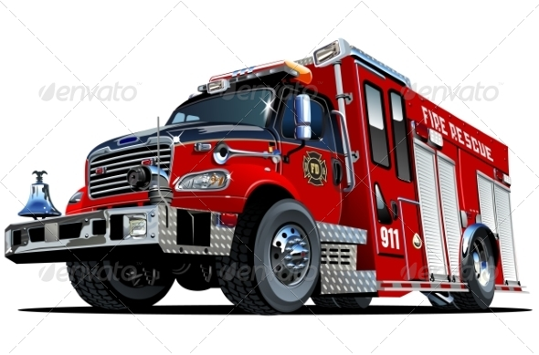 Vector Cartoon Fire Truck By Mechanik Graphicriver