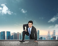 businessman climbing to the top of the building - PhotoDune Item for Sale