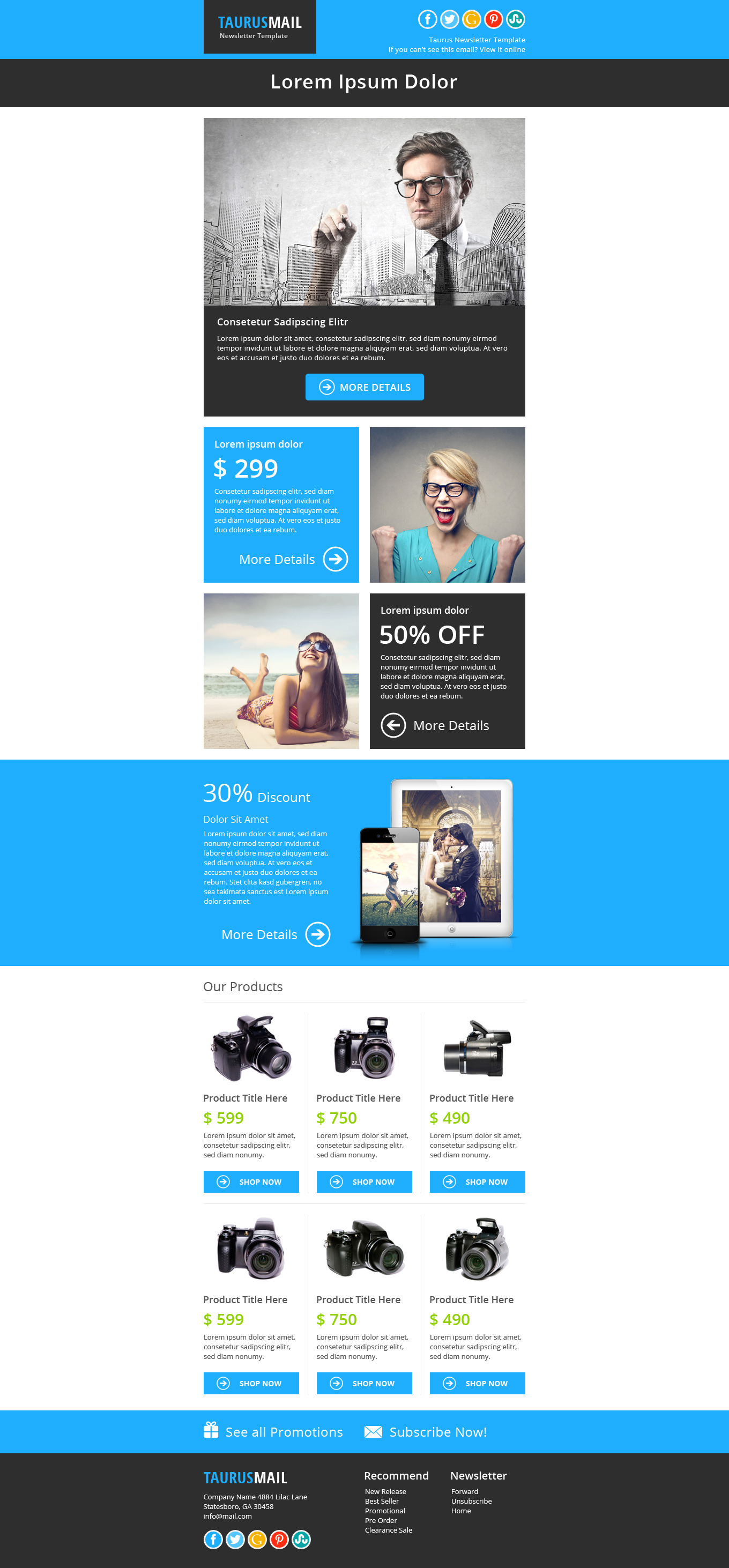 taurus metro responsive newsletter template by pophonic themeforest