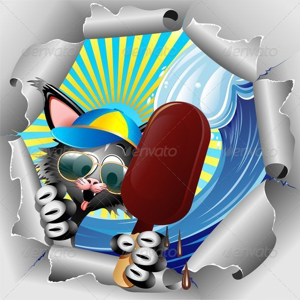 Cat Cartoon on Summer Holidays - Animals Characters
