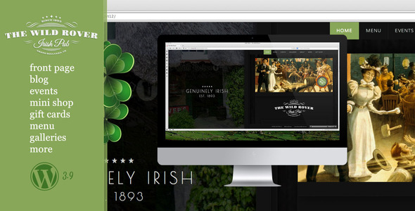 The Wild Rover–WP Theme For Irish Pubs