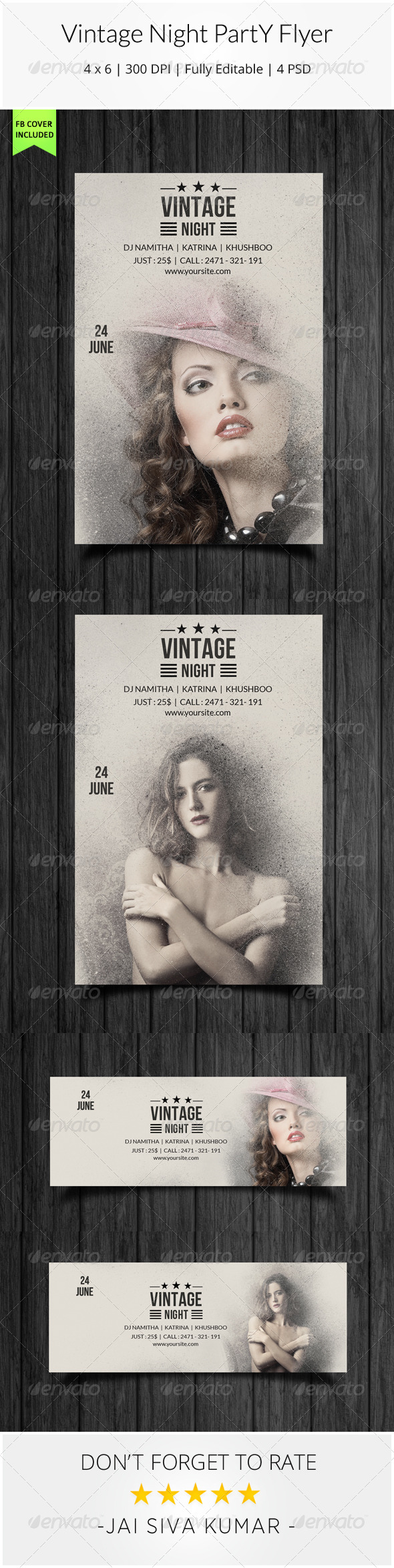 Vintage Night Party Flyer - Clubs & Parties Events