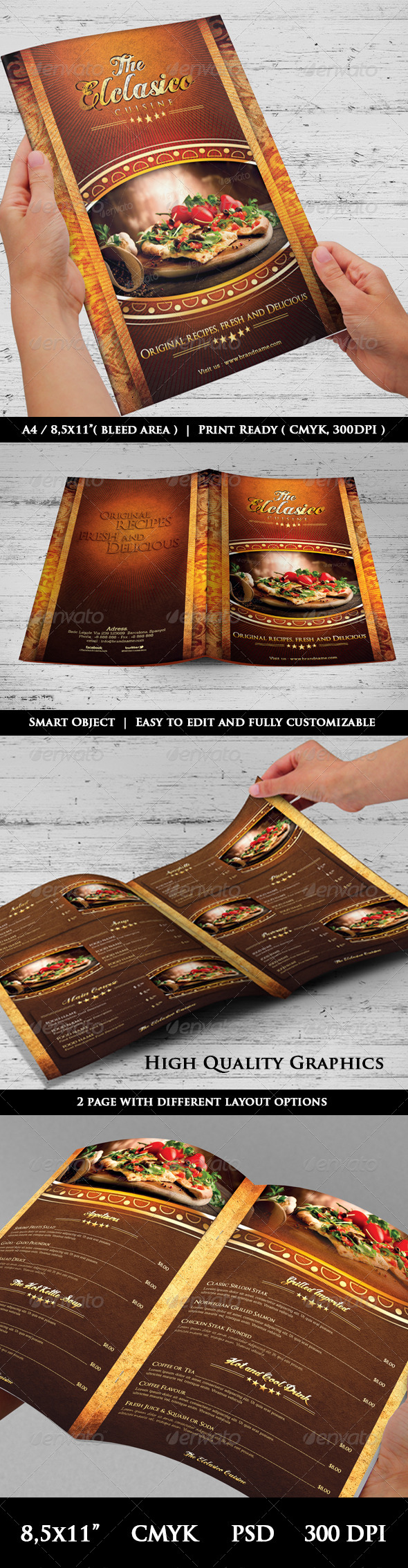The Elclasico Cuisine Menu Templates - Food Menus Print Templates