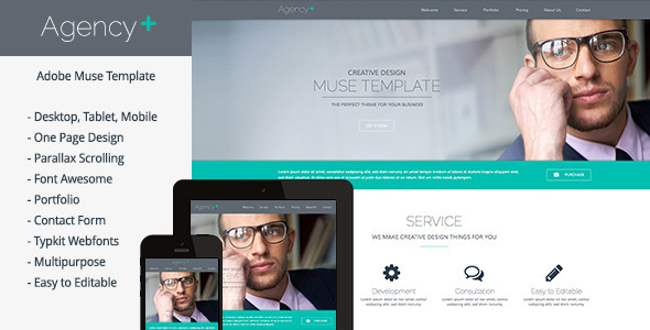 AgencyPlus – One Page Multi-Purpose Muse Template