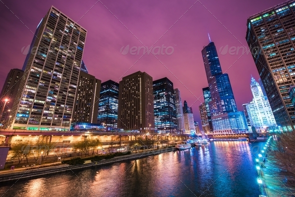 Chicago River Reflections - Stock Photo - Images