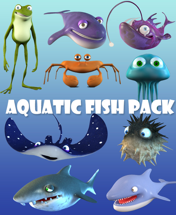 Cartoon Fish Bundle - 3DOcean Item for Sale