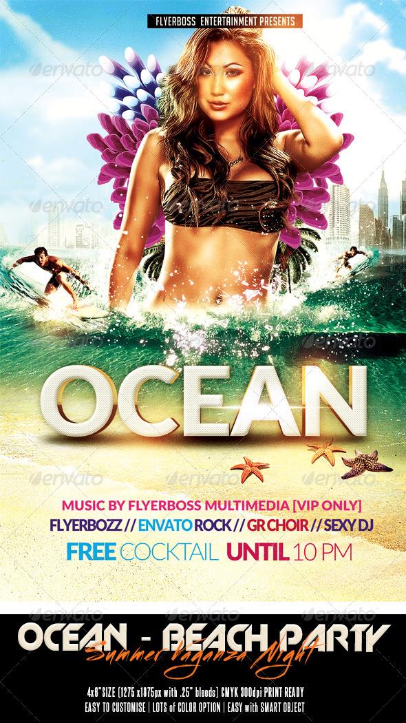 The Ocean - Summer Vaganza Flyer - Events Flyers