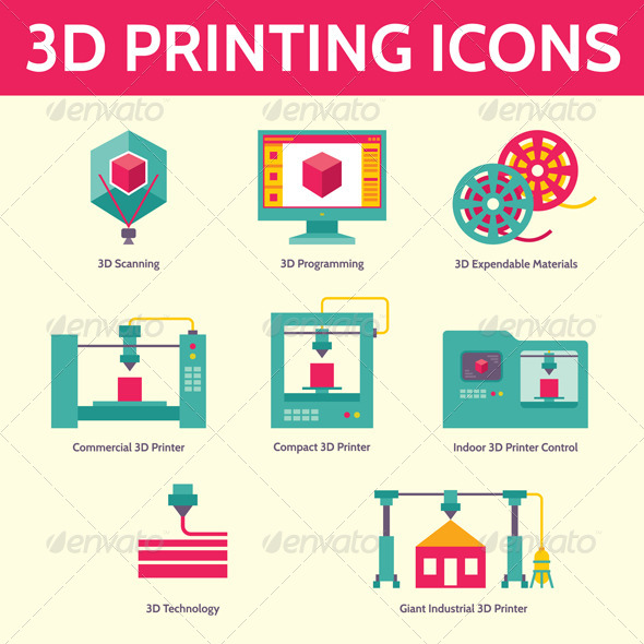 3d Printing Vector Icons In Flat Design Style By